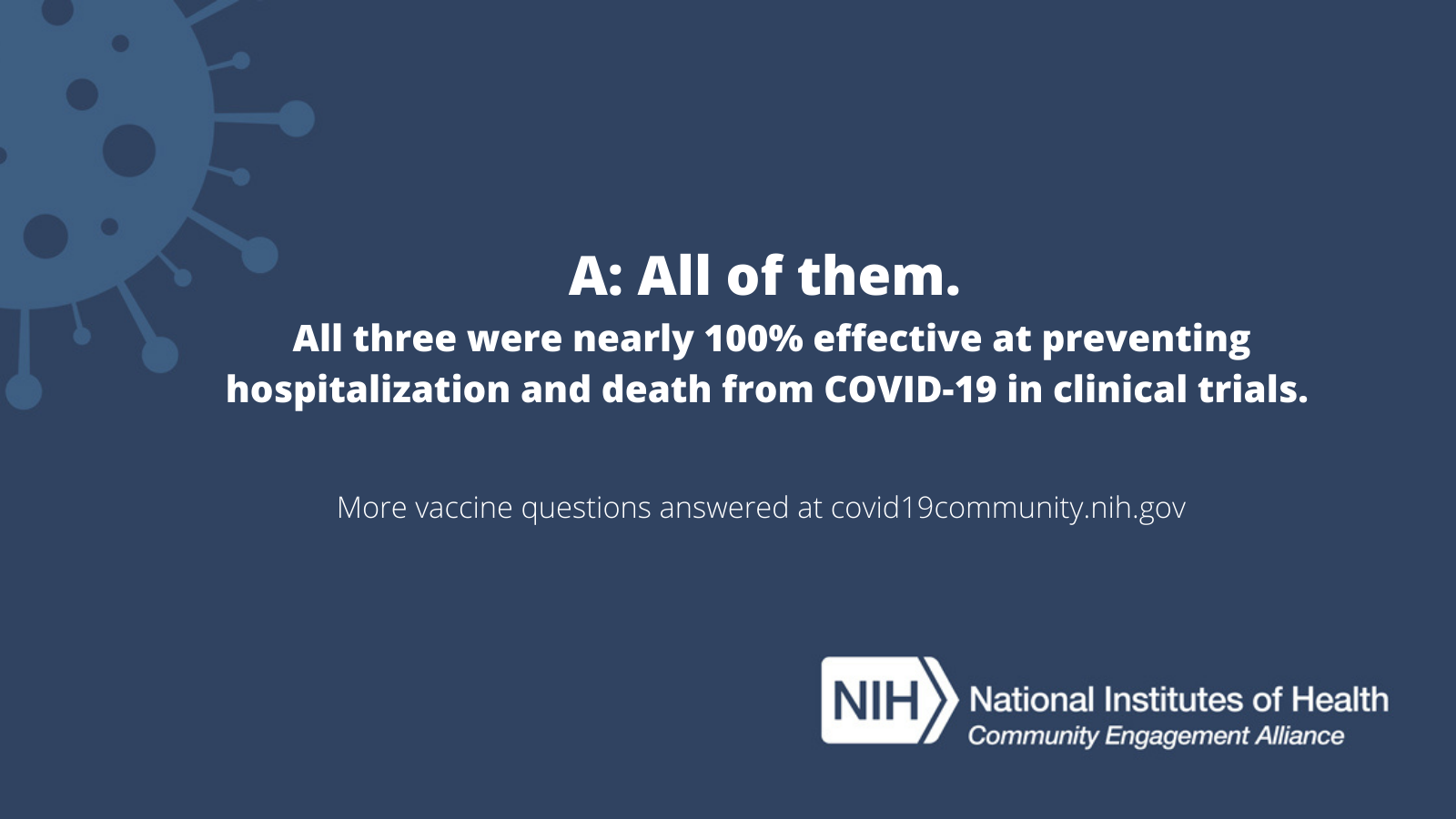 A: All of them. All three were nearly 100% effective at preventing hospitalization and death from COVID-19 in clinical trials. More vaccine questions answered at covid19community.nih.gov