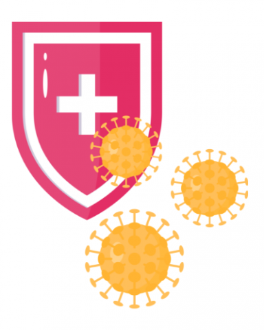 illustration of virus icons in foreground and shield with medical symbol on it in background